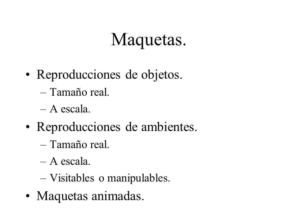 Maquetas. Reproducciones de objetos. –Tamaño real. –A escala. Reproducciones de ambientes. –Tamaño real. –A escala. –Visitables o manipulables. Maquet