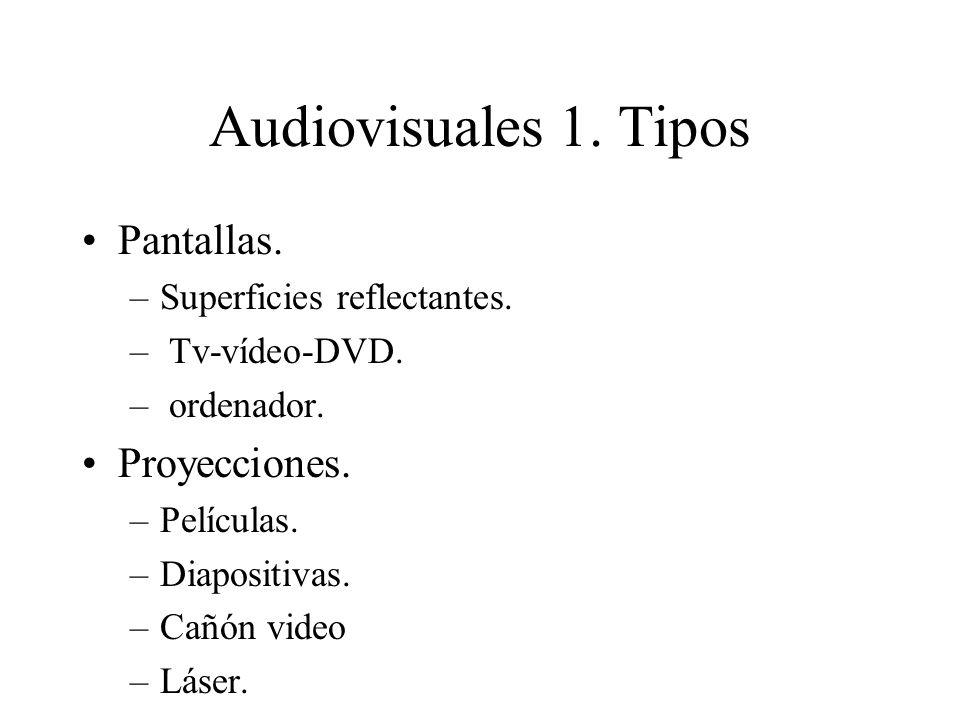 Audiovisuales 1. Tipos Pantallas. –Superficies reflectantes. – Tv-vídeo-DVD. – ordenador. Proyecciones. –Películas. –Diapositivas. –Cañón video –Láser
