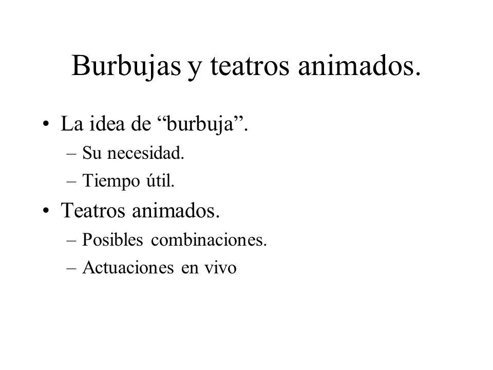 Burbujas y teatros animados. La idea de burbuja. –Su necesidad. –Tiempo útil. Teatros animados. –Posibles combinaciones. –Actuaciones en vivo