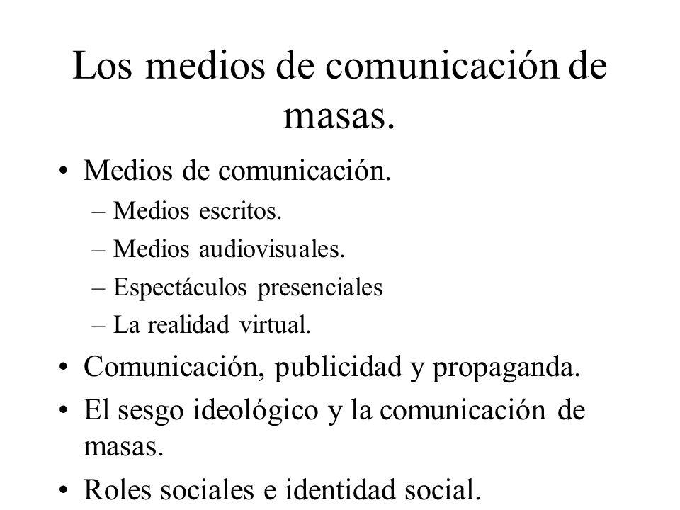 Los medios de comunicación de masas. Medios de comunicación. –Medios escritos. –Medios audiovisuales. –Espectáculos presenciales –La realidad virtual.