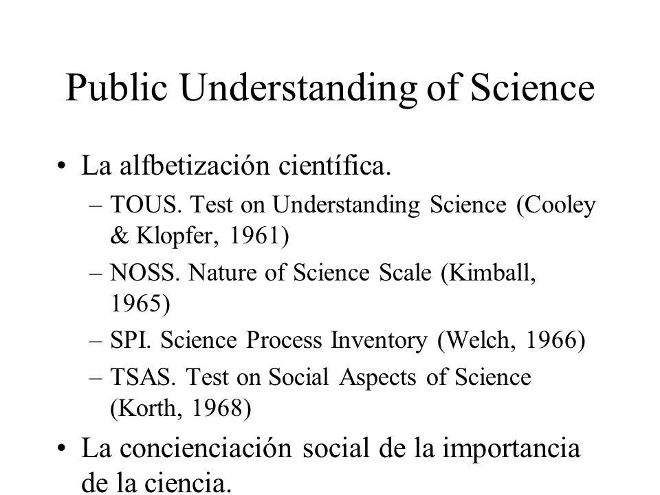 Public Understanding of Science La alfbetización científica. –TOUS. Test on Understanding Science (Cooley & Klopfer, 1961) –NOSS. Nature of Science Sc
