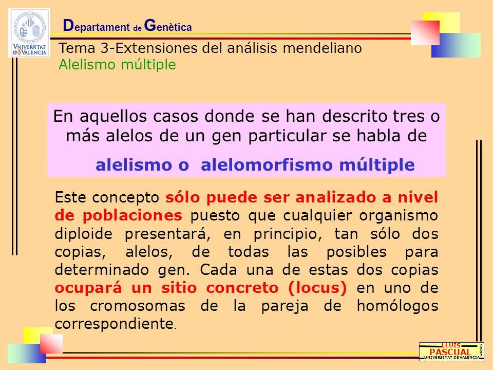 D epartament de G enètica Tema 3-Extensiones del análisis mendeliano Alelismo múltiple LLUÍS PASCUAL UNIVERSITAT DE VALÈNCIA 20032003 En aquellos caso