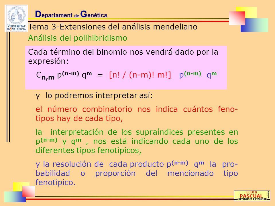 D epartament de G enètica Tema 3-Extensiones del análisis mendeliano Análisis del polihibridismo LLUÍS PASCUAL UNIVERSITAT DE VALÈNCIA 20032003 Cada t