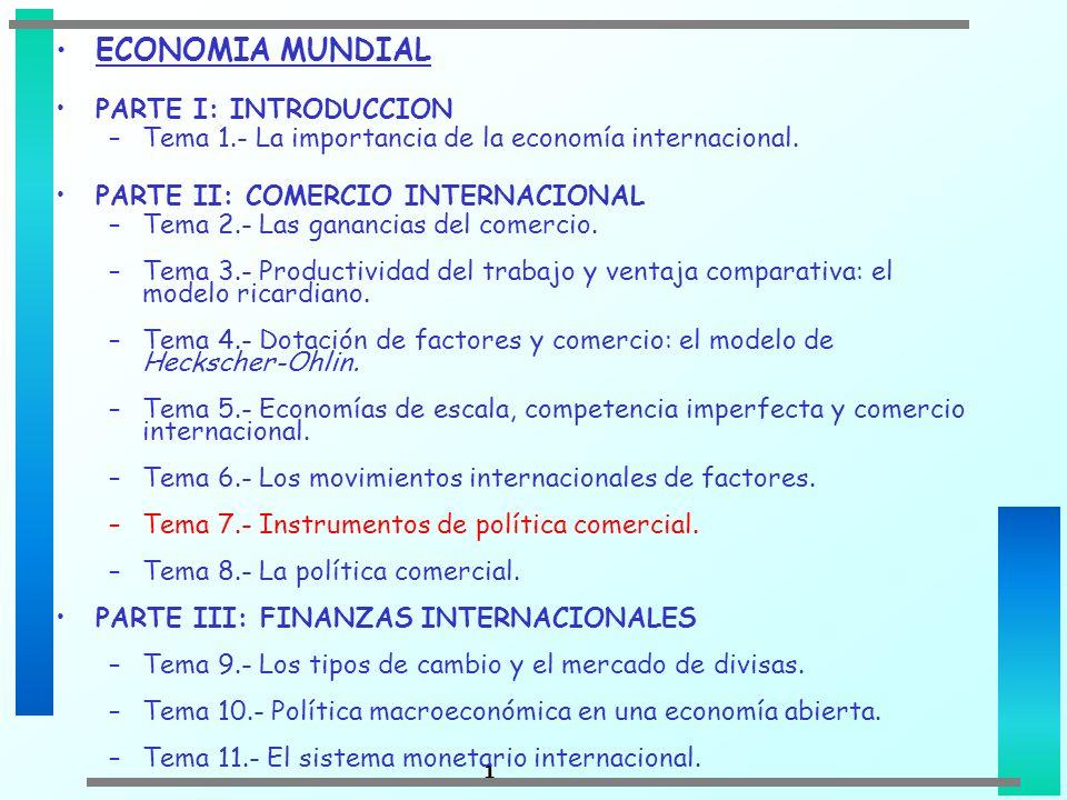 1 ECONOMIA MUNDIAL PARTE I: INTRODUCCION –Tema 1.- La importancia de la economía internacional. PARTE II: COMERCIO INTERNACIONAL –Tema 2.- Las gananci