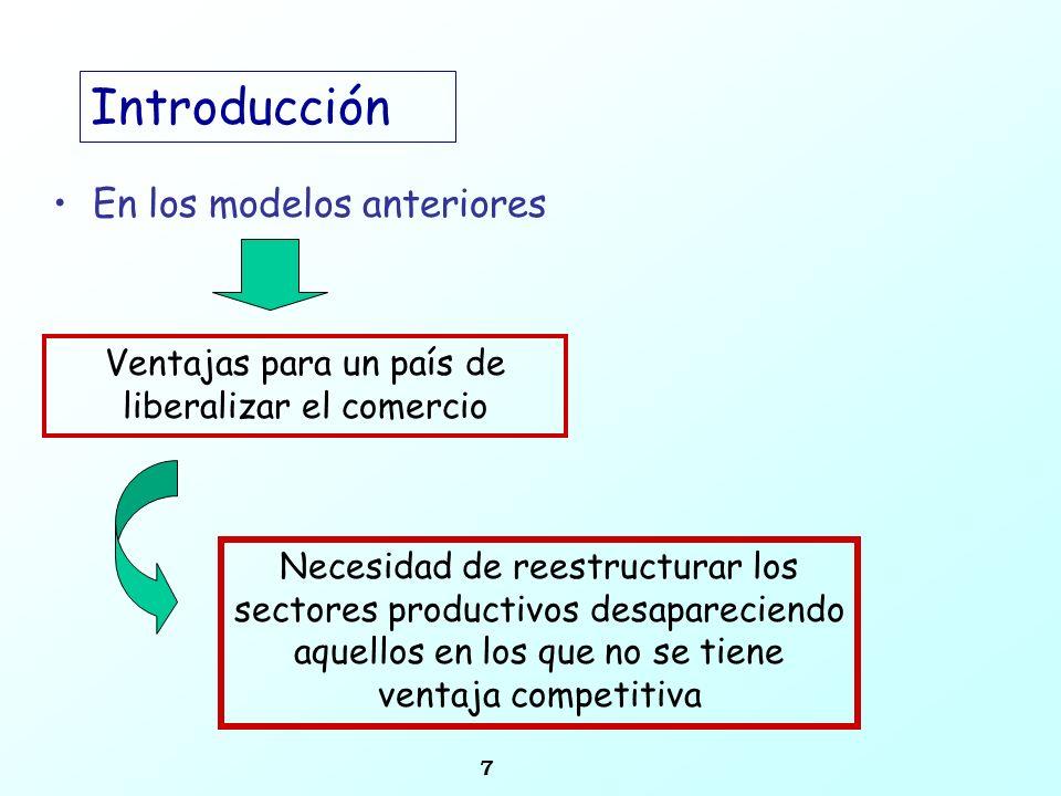 7 Introducción En los modelos anteriores Ventajas para un país de liberalizar el comercio Necesidad de reestructurar los sectores productivos desapare