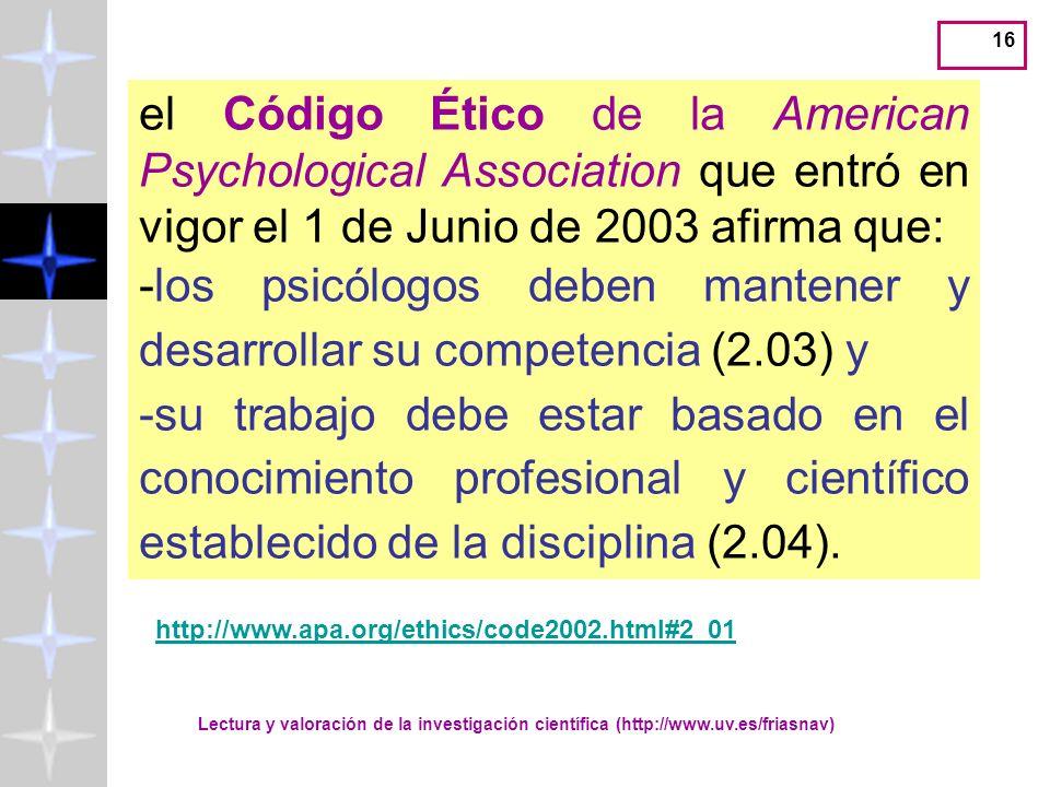 Lectura y valoración de la investigación científica (http://www.uv.es/friasnav) 15 Código Deontológico del Psicólogo Artículo 21: El ejercicio de la p