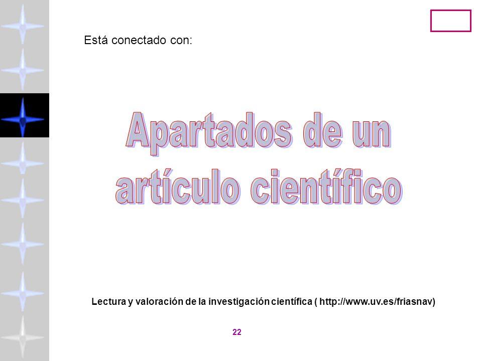 Lectura y valoración de la investigación científica ( http://www.uv.es/friasnav) 21 Necesidad de Conocimiento Conocimiento Previo Hipótesis de Investi