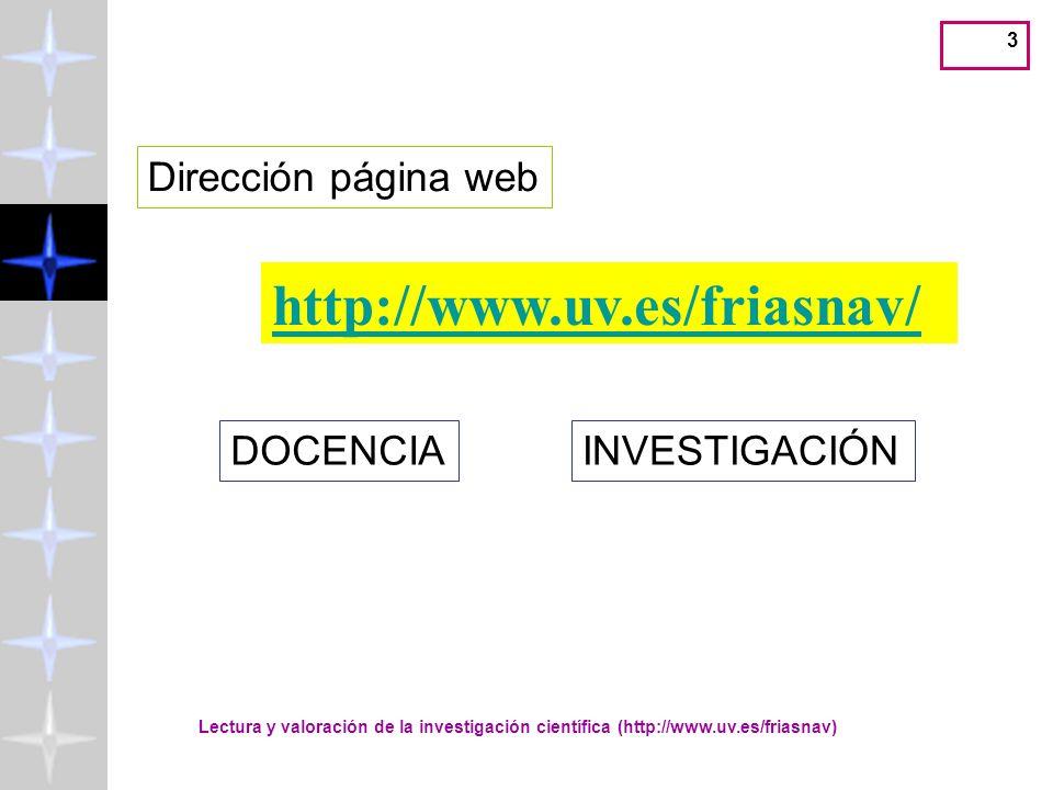 3 http://www.uv.es/friasnav/ Dirección página web DOCENCIAINVESTIGACIÓN Lectura y valoración de la investigación científica (http://www.uv.es/friasnav)