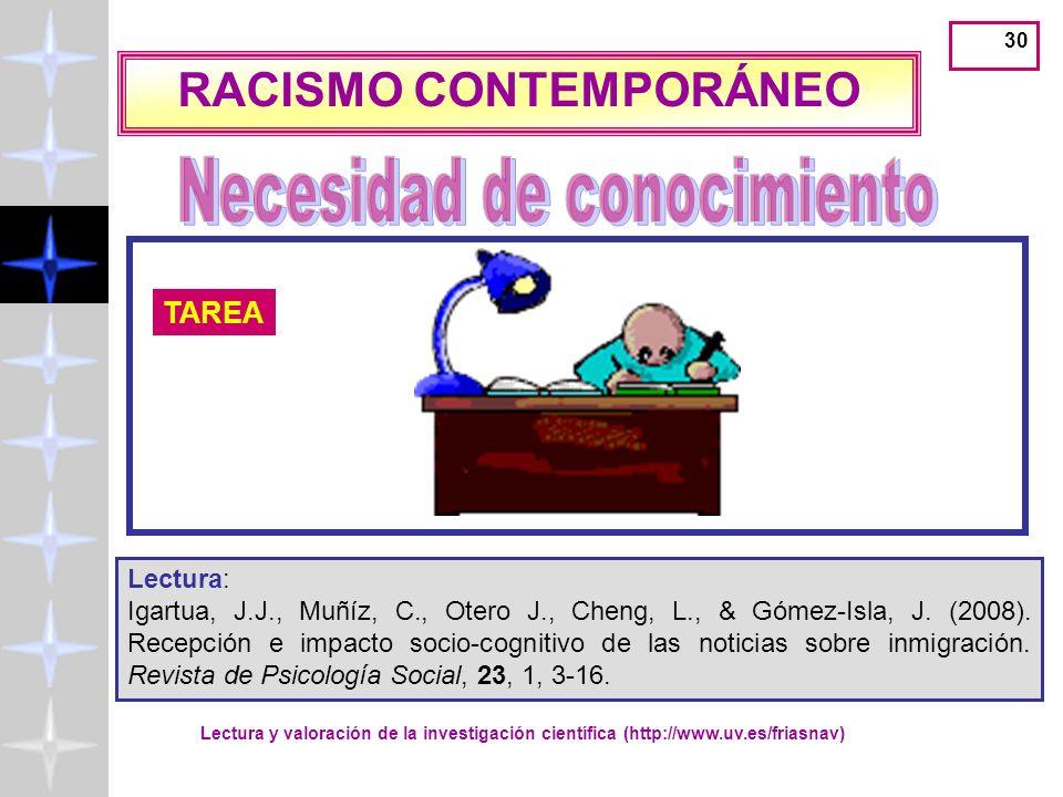 Lectura y valoración de la investigación científica (http://www.uv.es/friasnav) 29 Formulación del problema IMPACTO DE LAS NOTICIAS SOBRE INMIGRACIÓN