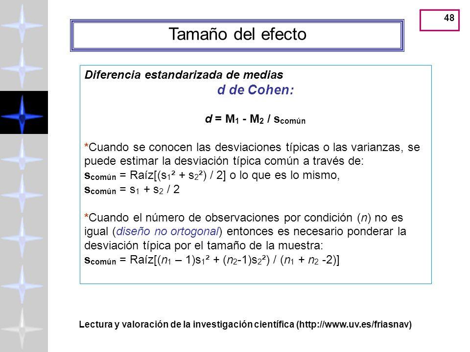 47 Valor p de probabilidad La meta del análisis estadístico es calcular la probabilidad de que las diferencias observadas sean debidas al mismo proces