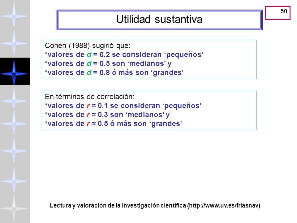 49 Utilidad sustantiva Cohen (1988) sugirió que: *valores de d = 0.2 se consideran pequeños *valores de d = 0.5 son medianos y *valores de d = 0.8 ó m
