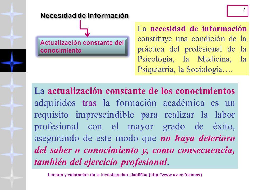 7 La necesidad de información constituye una condición de la práctica del profesional de la Psicología, la Medicina, la Psiquiatría, la Sociología….