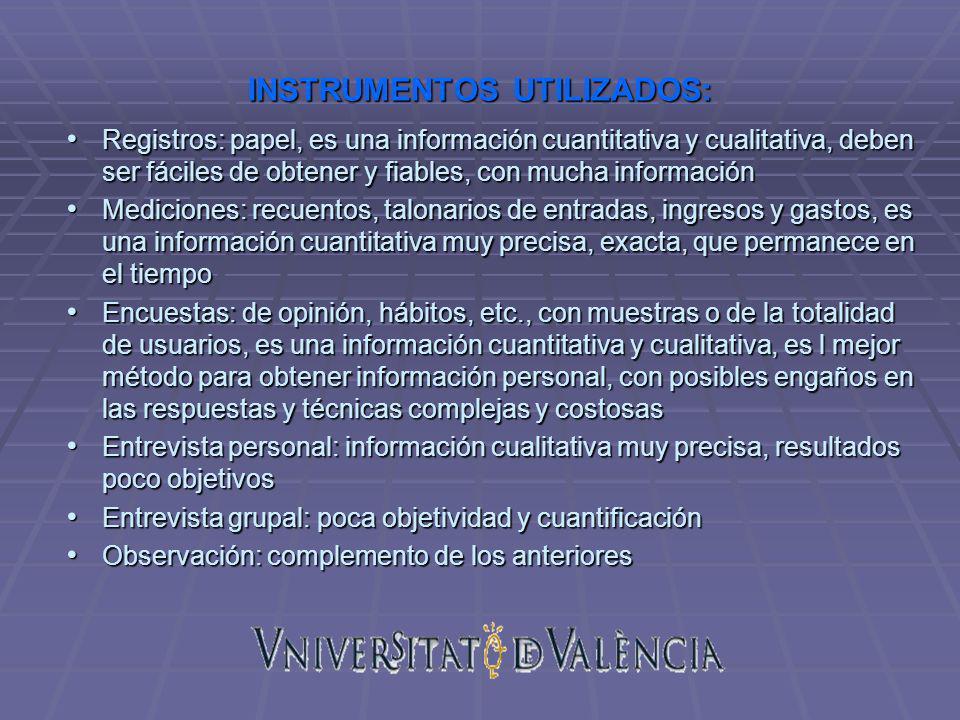 INSTRUMENTOS UTILIZADOS: Registros: papel, es una información cuantitativa y cualitativa, deben ser fáciles de obtener y fiables, con mucha informació