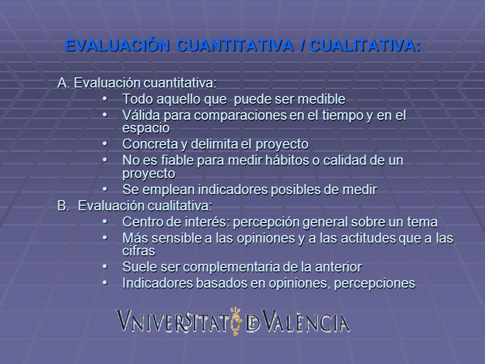 EVALUACIÓN CUANTITATIVA / CUALITATIVA: A. Evaluación cuantitativa: Todo aquello que puede ser medible Todo aquello que puede ser medible Válida para c