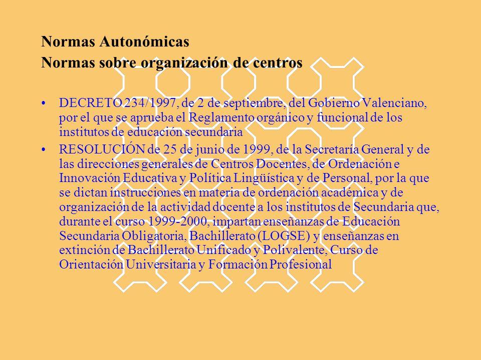 Normas Autonómicas Normas sobre organización de centros DECRETO 234/1997, de 2 de septiembre, del Gobierno Valenciano, por el que se aprueba el Reglamento orgánico y funcional de los institutos de educación secundaria RESOLUCIÓN de 25 de junio de 1999, de la Secretaría General y de las direcciones generales de Centros Docentes, de Ordenación e Innovación Educativa y Política Lingüística y de Personal, por la que se dictan instrucciones en materia de ordenación académica y de organización de la actividad docente a los institutos de Secundaria que, durante el curso 1999-2000, impartan enseñanzas de Educación Secundaria Obligatoria, Bachillerato (LOGSE) y enseñanzas en extinción de Bachillerato Unificado y Polivalente, Curso de Orientación Universitaria y Formación Profesional