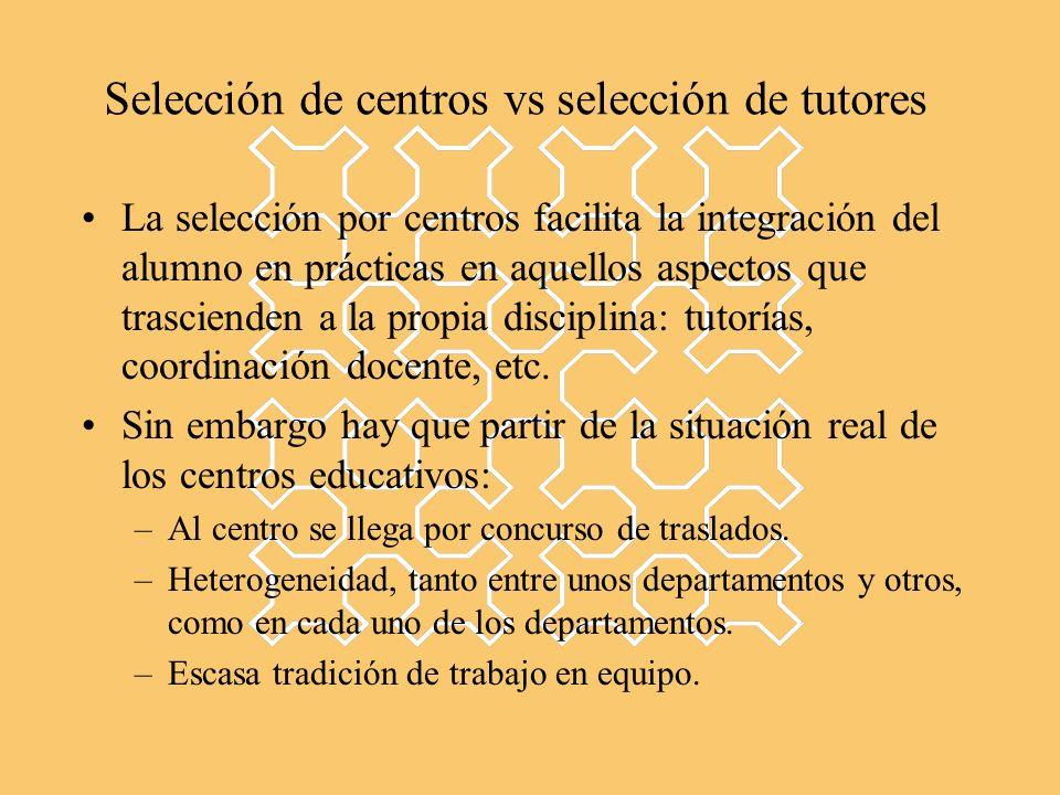 Selección de centros vs selección de tutores La selección por centros facilita la integración del alumno en prácticas en aquellos aspectos que trascienden a la propia disciplina: tutorías, coordinación docente, etc.
