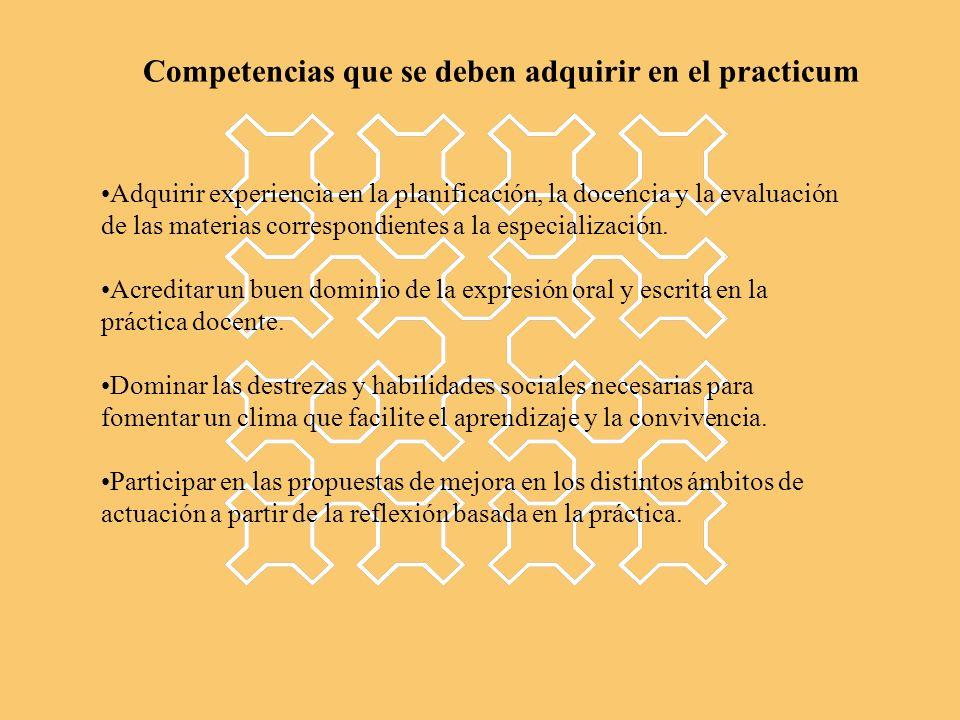 Adquirir experiencia en la planificación, la docencia y la evaluación de las materias correspondientes a la especialización. Acreditar un buen dominio