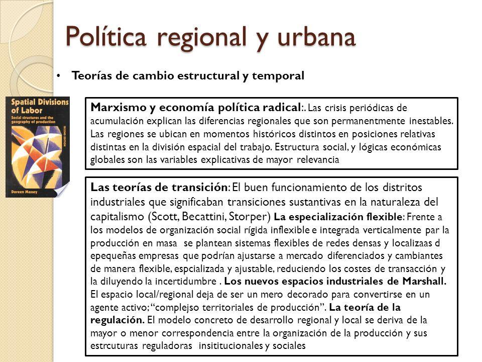 Política regional y urbana Teorías de cambio estructural y temporal Marxismo y economía política radical:.