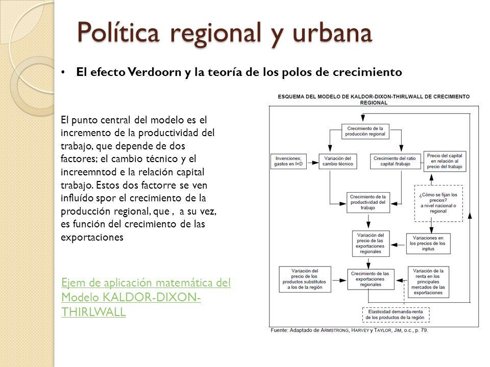 Política regional y urbana El efecto Verdoorn y la teoría de los polos de crecimiento El punto central del modelo es el incremento de la productividad del trabajo, que depende de dos factores; el cambio técnico y el increemntod e la relación capital trabajo.