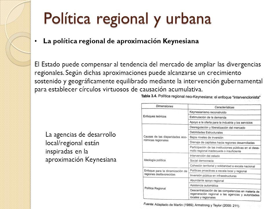 Política regional y urbana La política regional de aproximación Keynesiana El Estado puede compensar al tendencia del mercado de ampliar las divergencias regionales.