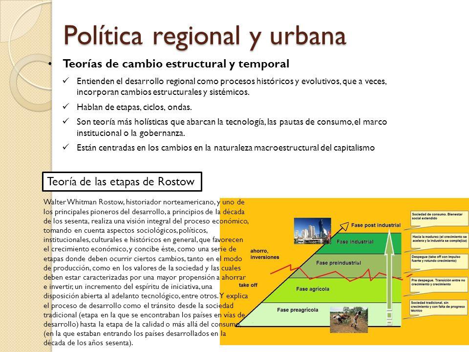 Política regional y urbana Teorías de cambio estructural y temporal Entienden el desarrollo regional como procesos históricos y evolutivos, que a veces, incorporan cambios estructurales y sistémicos.