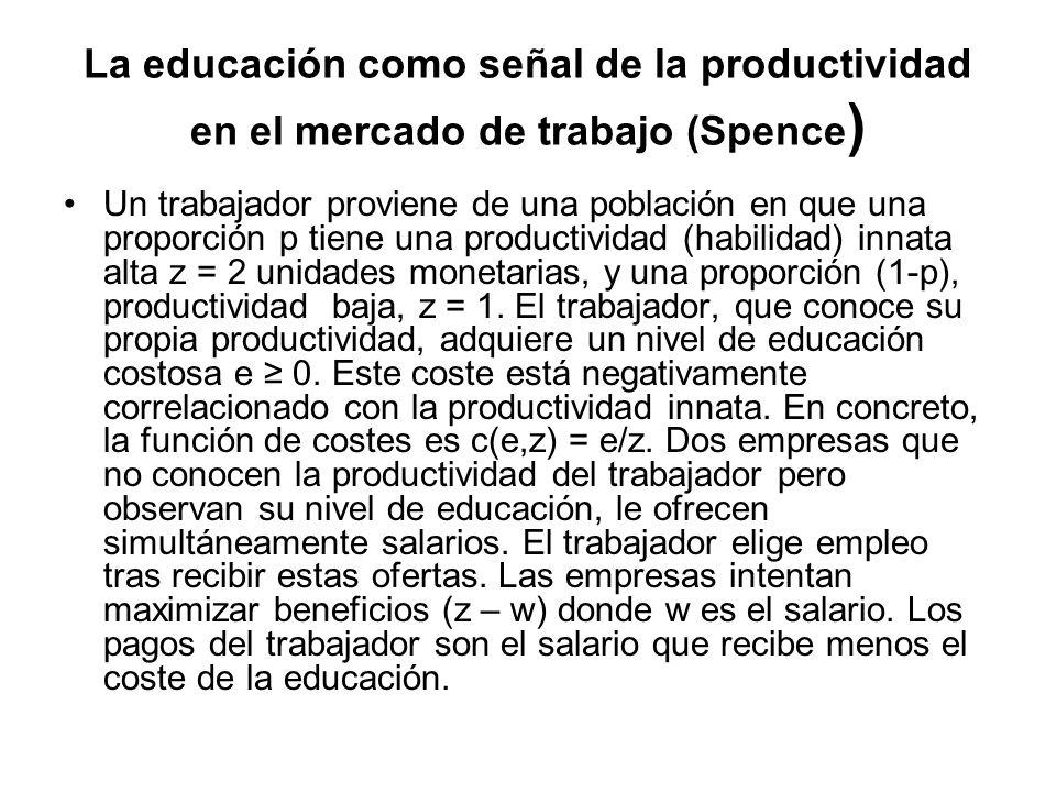 La educación como señal de la productividad en el mercado de trabajo (Spence ) Un trabajador proviene de una población en que una proporción p tiene u