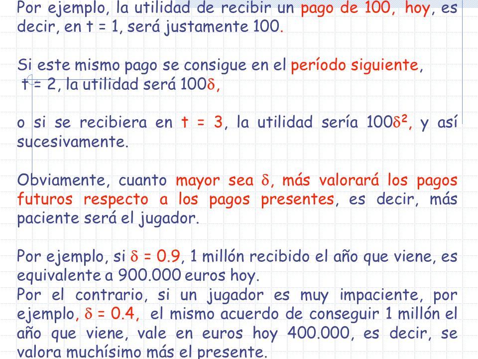 Por ejemplo, la utilidad de recibir un pago de 100, hoy, es decir, en t = 1, será justamente 100. Si este mismo pago se consigue en el período siguien