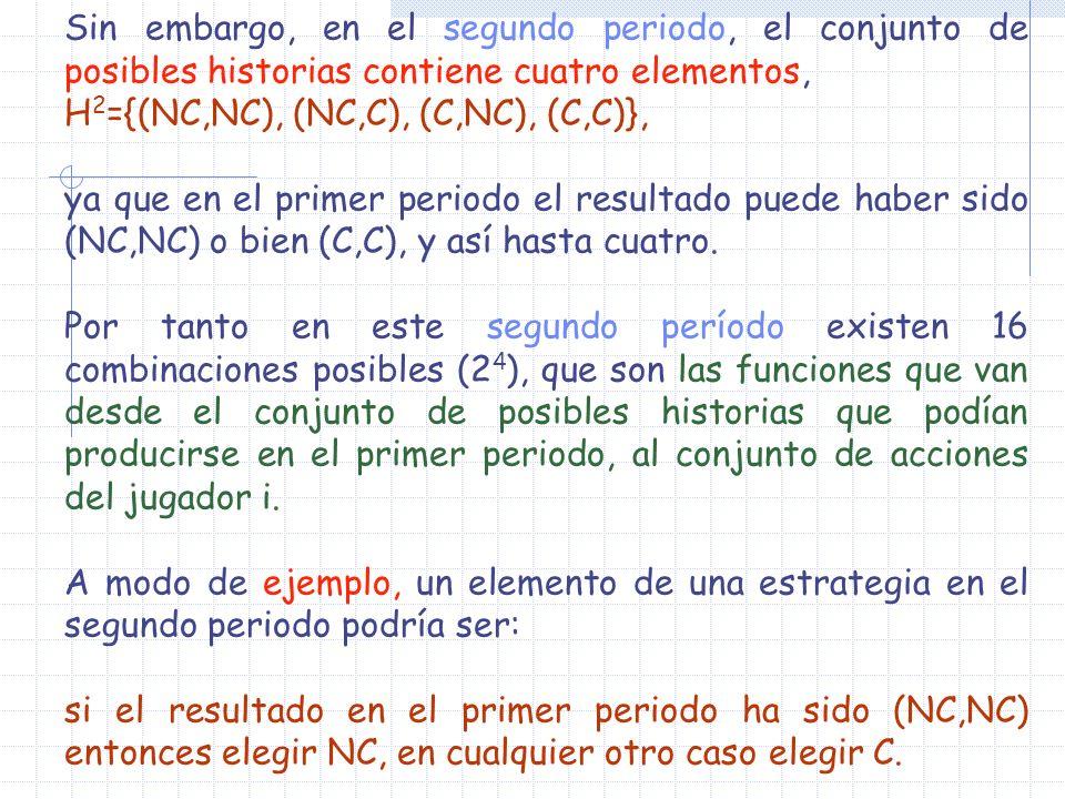 Sin embargo, en el segundo periodo, el conjunto de posibles historias contiene cuatro elementos, H 2 ={(NC,NC), (NC,C), (C,NC), (C,C)}, ya que en el p