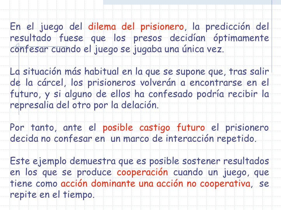 En el juego del dilema del prisionero, la predicción del resultado fuese que los presos decidían óptimamente confesar cuando el juego se jugaba una ún