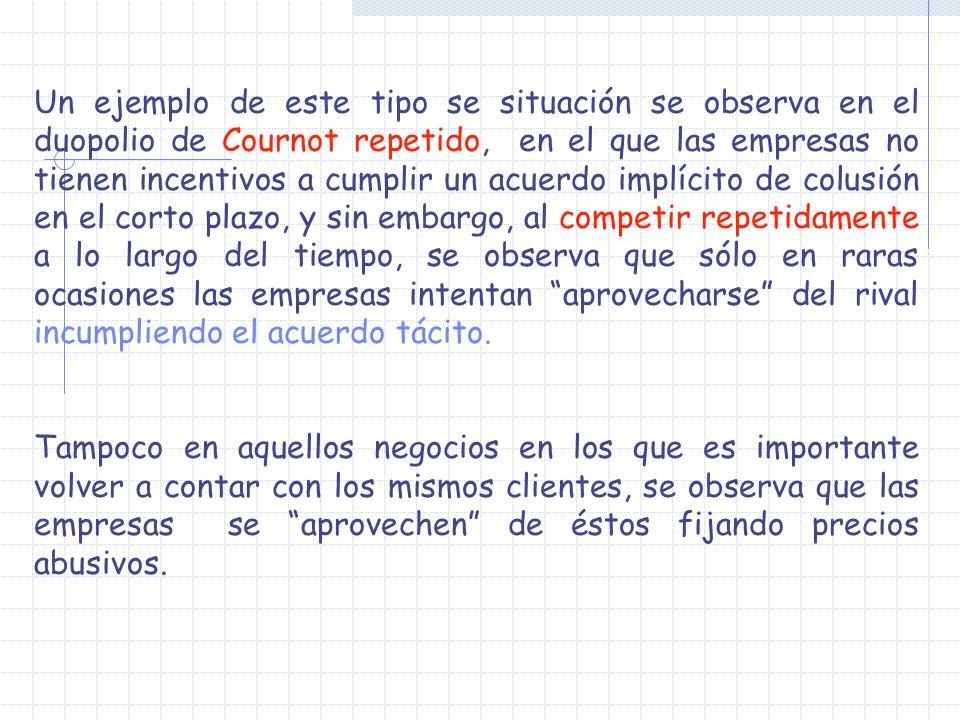 Un ejemplo de este tipo se situación se observa en el duopolio de Cournot repetido, en el que las empresas no tienen incentivos a cumplir un acuerdo i
