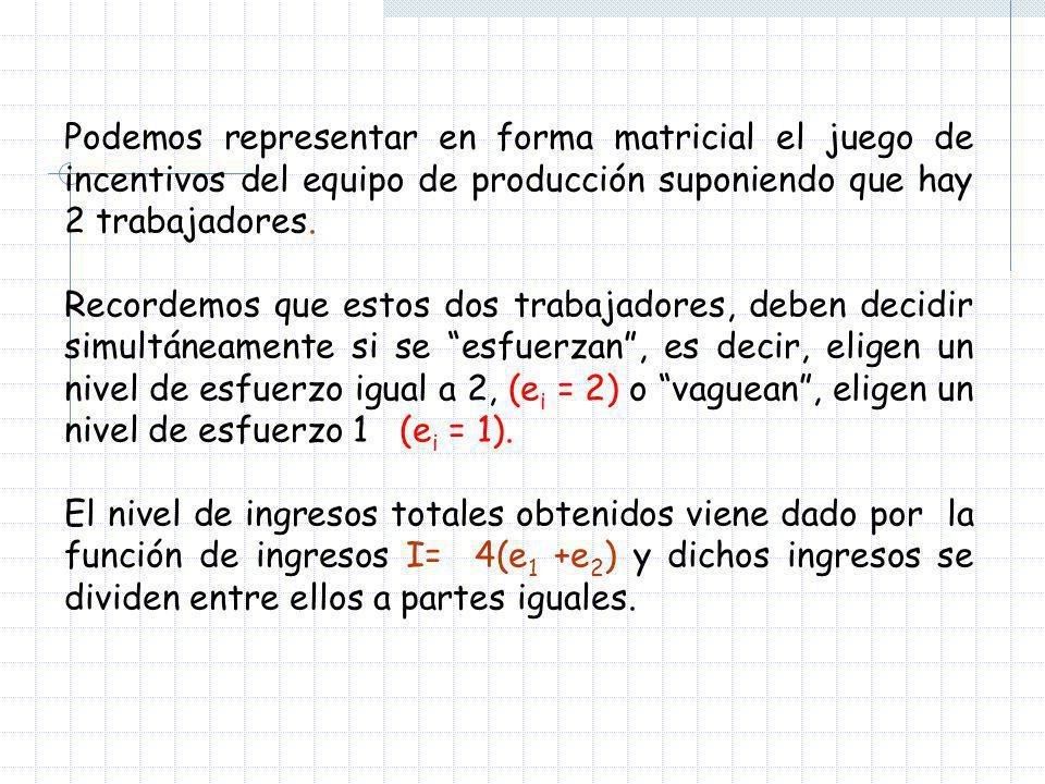 La representación matricial de esta situación será: e 2 =2 (esforzarse) e 2 =1 (vaguear) e 1 =2 (esforzarse) 2,20,3 e 1 =1 (vaguear) 3,01,1