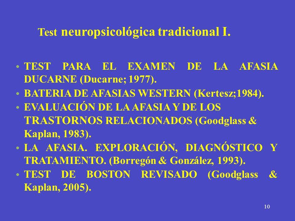 10 Test neuropsicológica tradicional I. TEST PARA EL EXAMEN DE LA AFASIA DUCARNE (Ducarne; 1977). BATERIA DE AFASIAS WESTERN (Kertesz;1984). EVALUACIÓ
