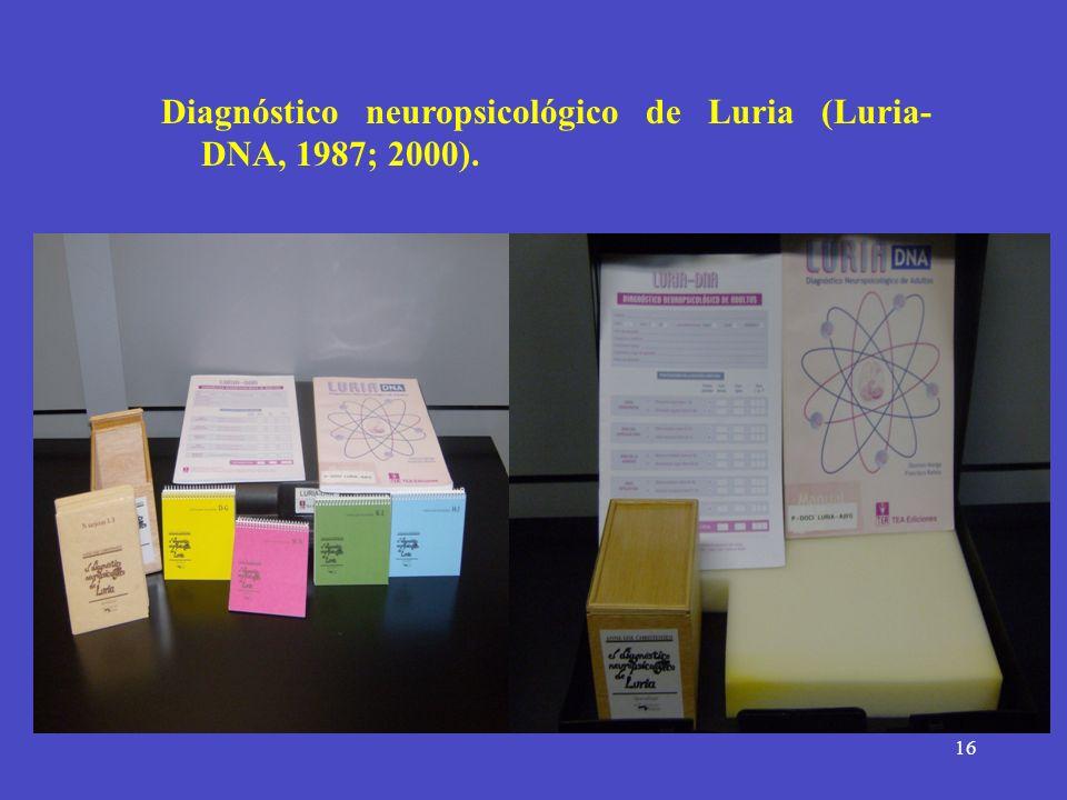 16 Diagnóstico neuropsicológico de Luria (Luria- DNA, 1987; 2000).