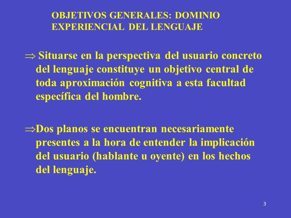 3 OBJETIVOS GENERALES: DOMINIO EXPERIENCIAL DEL LENGUAJE Situarse en la perspectiva del usuario concreto del lenguaje constituye un objetivo central d