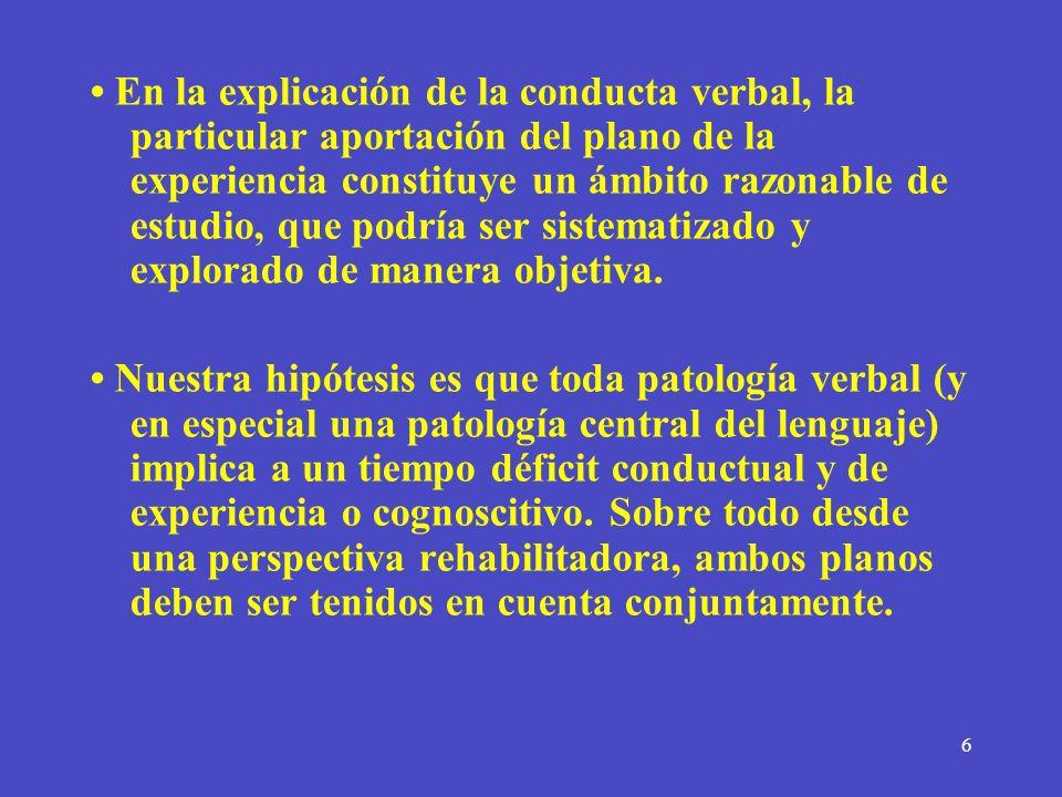 6 En la explicación de la conducta verbal, la particular aportación del plano de la experiencia constituye un ámbito razonable de estudio, que podría