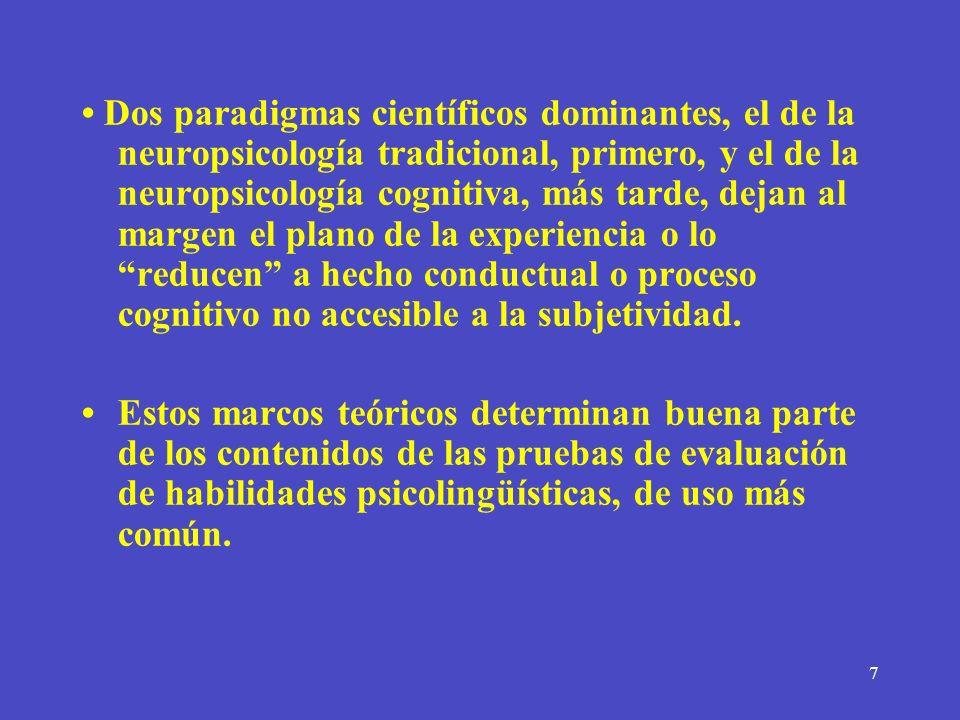 7 Dos paradigmas científicos dominantes, el de la neuropsicología tradicional, primero, y el de la neuropsicología cognitiva, más tarde, dejan al marg