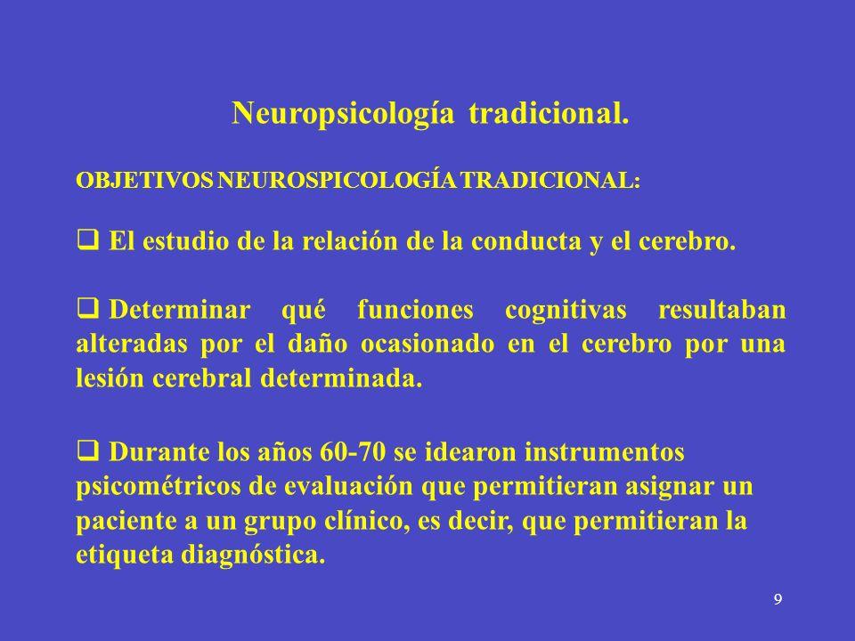 9 Neuropsicología tradicional. OBJETIVOS NEUROSPICOLOGÍA TRADICIONAL: El estudio de la relación de la conducta y el cerebro. Determinar qué funciones