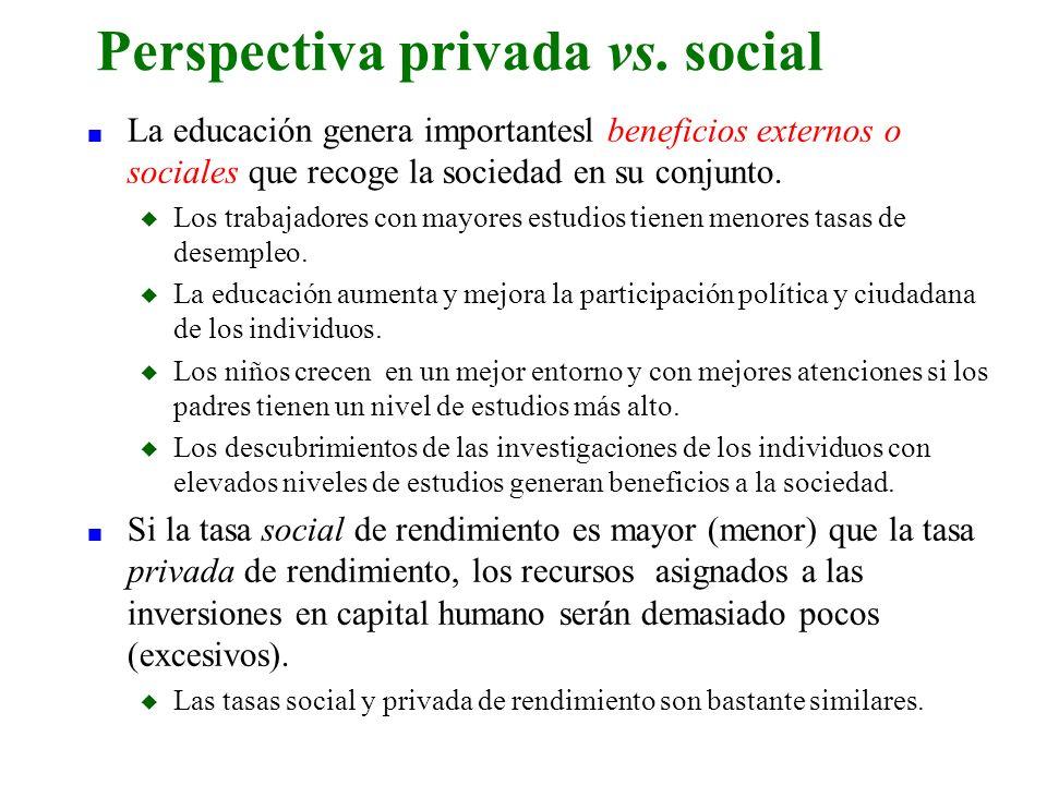 n La educación genera importantesl beneficios externos o sociales que recoge la sociedad en su conjunto. u Los trabajadores con mayores estudios tiene