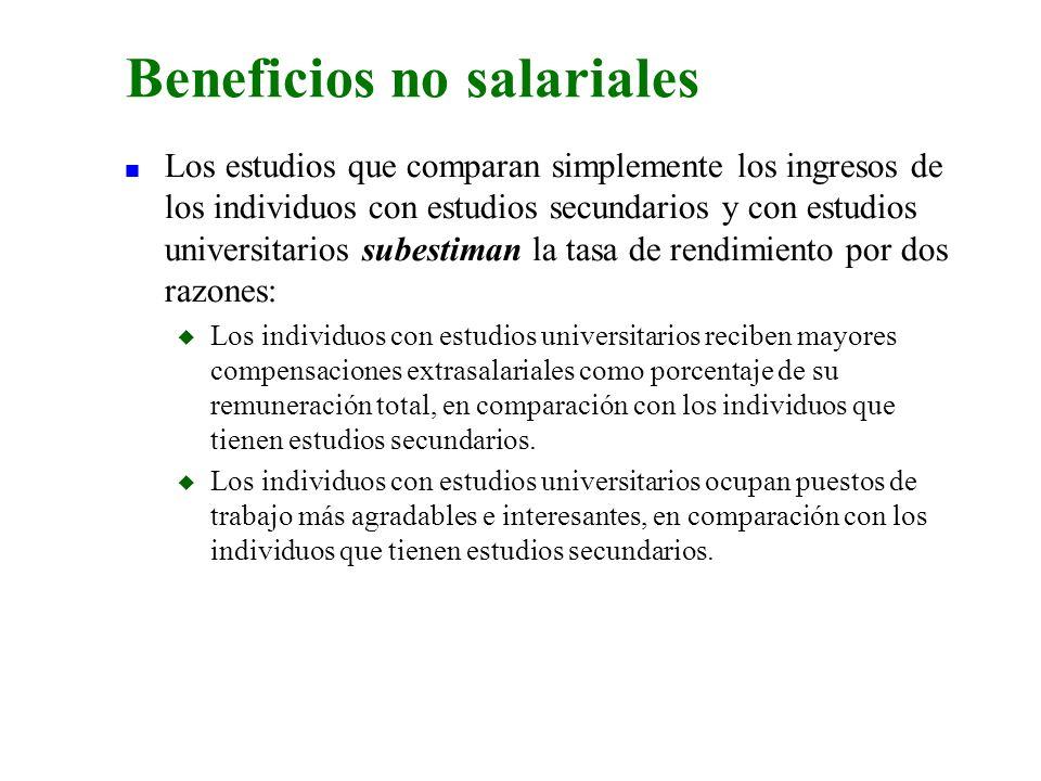 n Los estudios que comparan simplemente los ingresos de los individuos con estudios secundarios y con estudios universitarios subestiman la tasa de re
