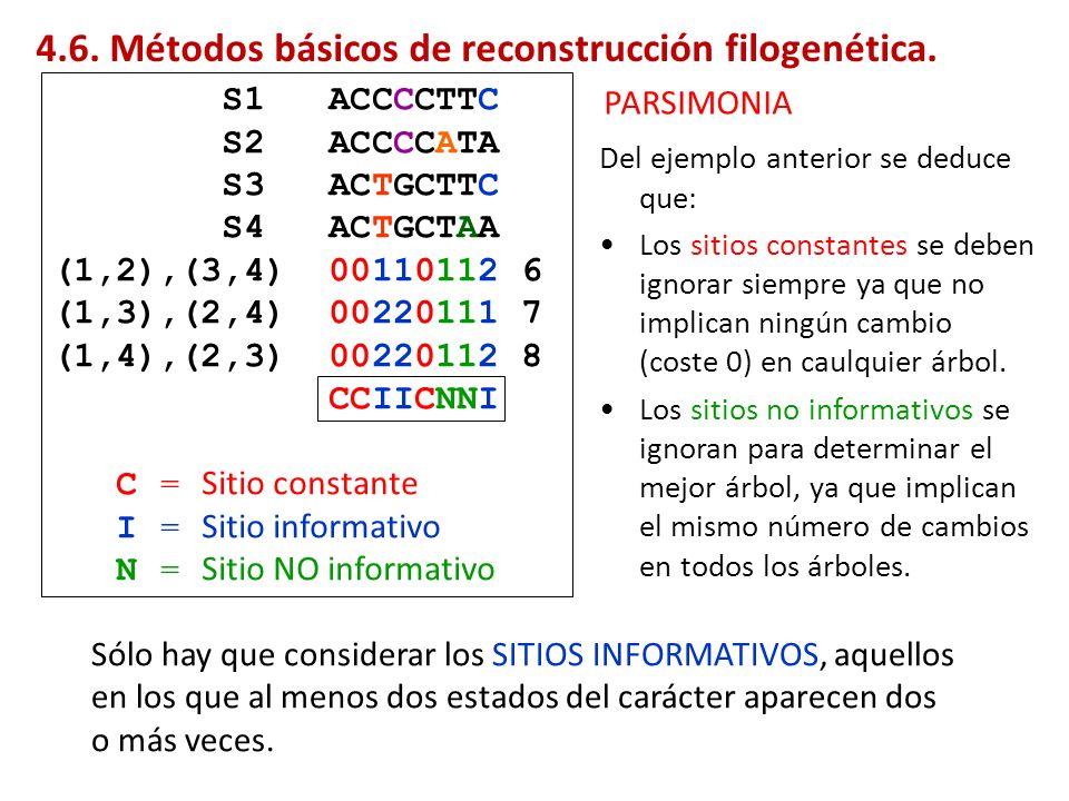 Del ejemplo anterior se deduce que: Los sitios constantes se deben ignorar siempre ya que no implican ningún cambio (coste 0) en caulquier árbol. Los