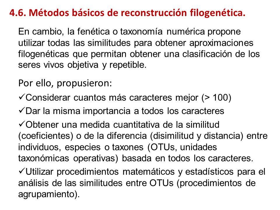 A B C D E B 2 C 4 4 D 6 6 6 E 6 6 6 4 F 8 8 8 8 8 A - GCTTGTCCGTTACGAT B – ACTTGTCTGTTACGAT C – ACTTGTCCGAAACGAT D - ACTTGACCGTTTCCTT E – AGATGACCGTTTCGAT F - ACTACACCCTTATGAG Árboles ultramétricos: métodos de agrupamiento (clustering) A B C D E B 2 C 4 4 D 6 6 6 E 6 6 6 4 F 8 8 8 8 8 4.6.