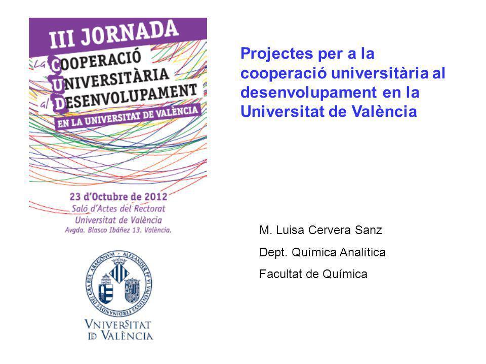 Projectes per a la cooperació universitària al desenvolupament en la Universitat de València M.