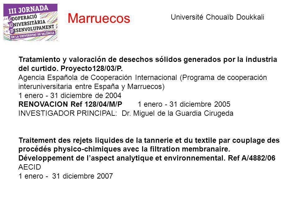 Marruecos Tratamiento y valoración de desechos sólidos generados por la industria del curtido.