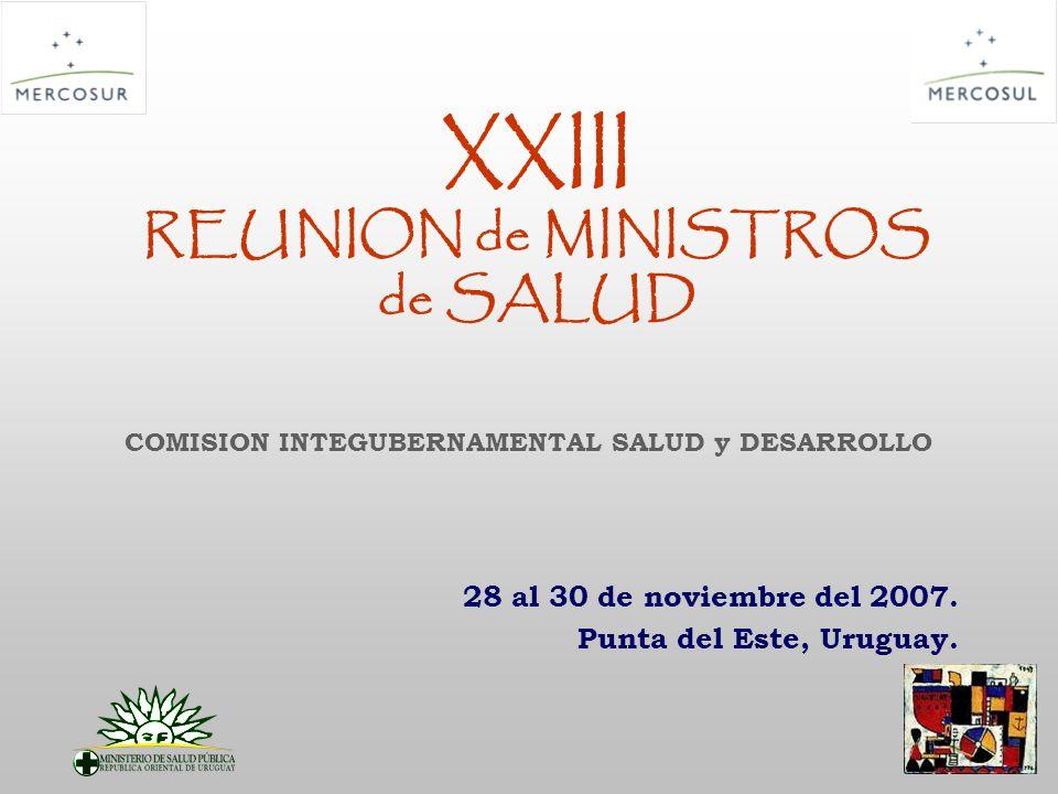 XXIII REUNION de MINISTROS de SALUD 28 al 30 de noviembre del 2007.