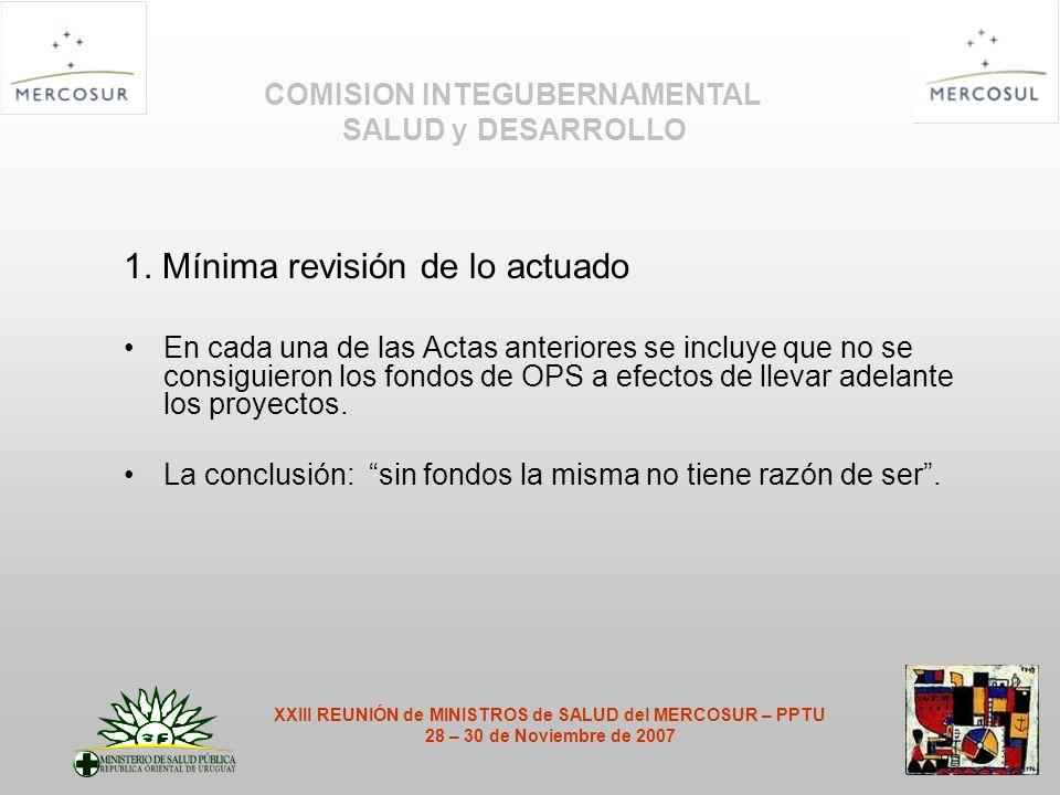 1. Mínima revisión de lo actuado En cada una de las Actas anteriores se incluye que no se consiguieron los fondos de OPS a efectos de llevar adelante