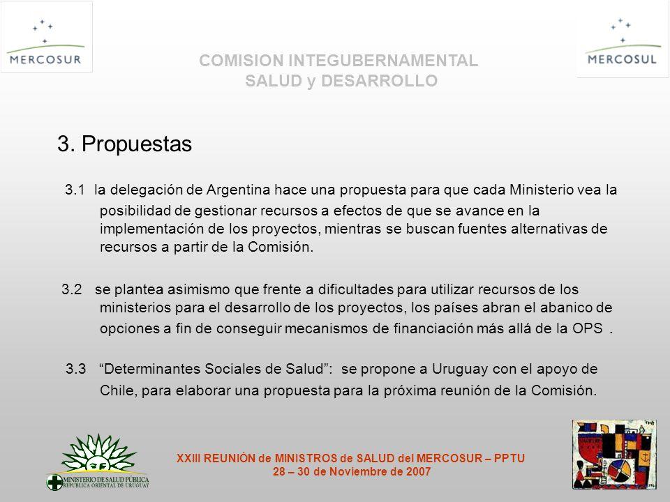 3. Propuestas 3.1 la delegación de Argentina hace una propuesta para que cada Ministerio vea la posibilidad de gestionar recursos a efectos de que se