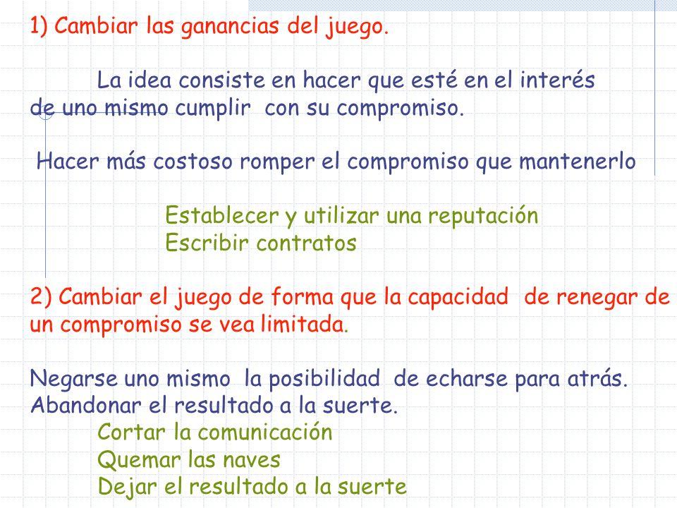 La forma extensiva sería la siguiente, donde mediante flechas recogemos el equilibrio perfecto obtenido por inducción hacia atrás: Ma NN P NP BB MM CR NCR 0101 2020 1212 1 1212 EP: Madre:(CR, NP), Niño: (B,M) Pagos (1,2) Senda de equilibrio: (CR, B)
