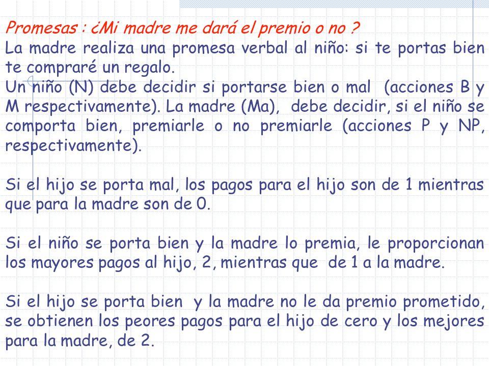 Promesas : ¿Mi madre me dará el premio o no ? La madre realiza una promesa verbal al niño: si te portas bien te compraré un regalo. Un niño (N) debe d