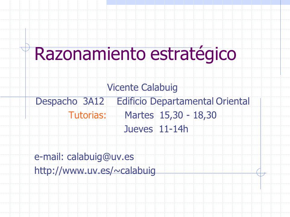 Razonamiento estratégico Vicente Calabuig Despacho 3A12 Edificio Departamental Oriental Tutorias: Martes 15,30 - 18,30 Jueves 11-14h e-mail: calabuig@