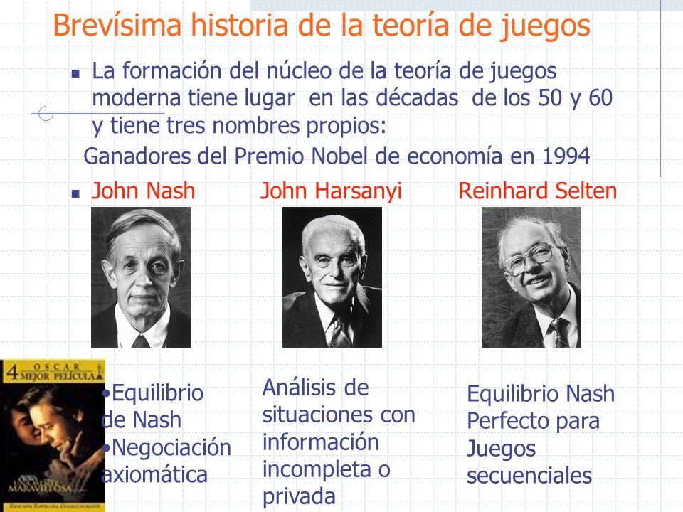 Brevísima historia de la teoría de juegos La formación del núcleo de la teoría de juegos moderna tiene lugar en las décadas de los 50 y 60 y tiene tre